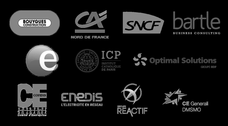 Nos clients : Bouygues Construction, Crédit Agricole Nord de France, SNCF, Bartle Consulting...